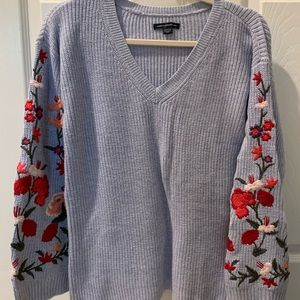 Baby Blue Sweater with Floral Designs